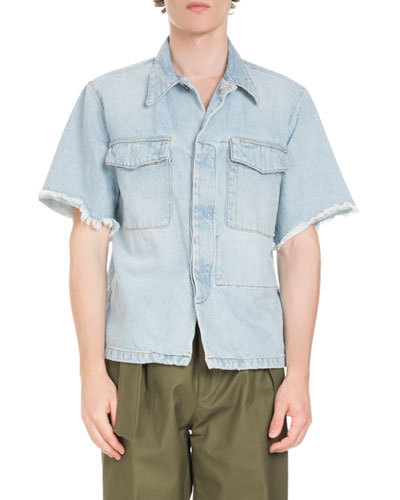 Frayed-Sleeve Denim Overshirt