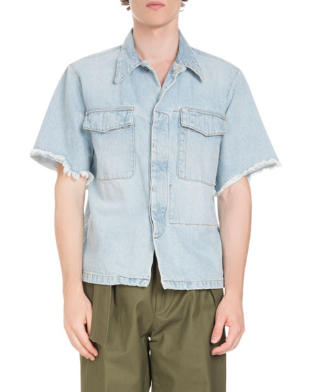 Frayed-Sleeve Denim Overshirt