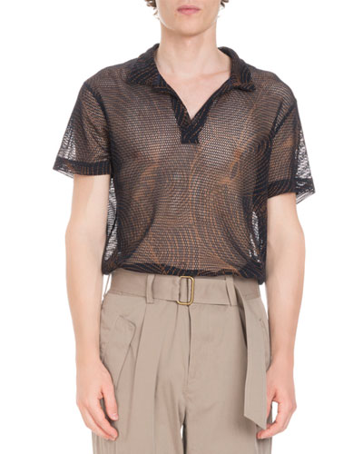 Printed Mesh Open Polo Shirt