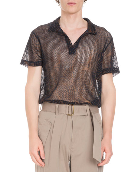 ea46913c7c Dries Van Noten Printed Mesh Open Polo Shirt
