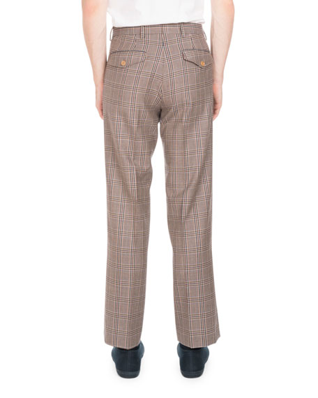 Plaid Wool Straight-Leg Trouser Pants