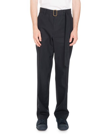 Belted Straight-Leg Trouser Pants, Blue