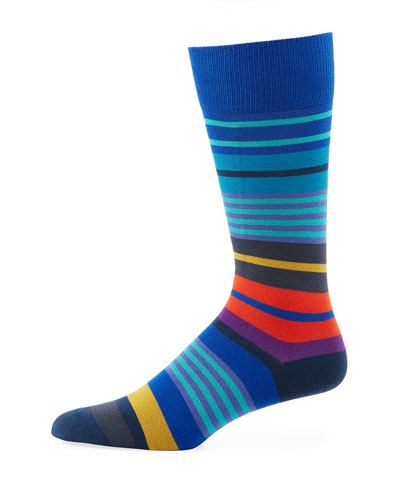 Fennel Striped Cotton-Blend Socks