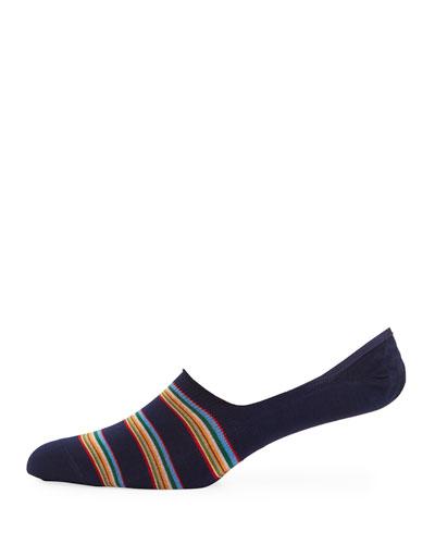 Striped Cotton-Blend No-Show Socks