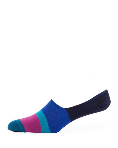 Dill Striped Cotton-Blend No-Show Socks