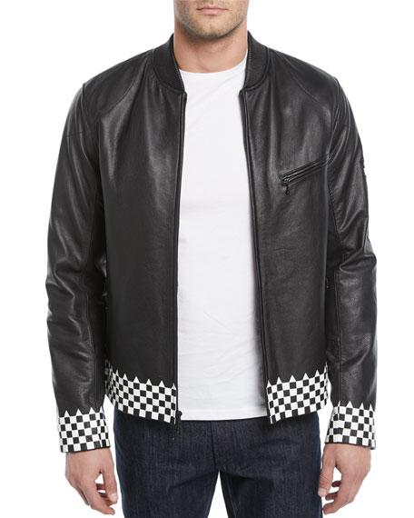 Ovadia & Sons Checker-Trim Leather Biker Jacket