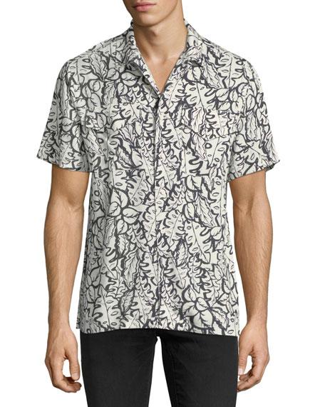 Ovadia & Sons Leaf-Print Beach Shirt