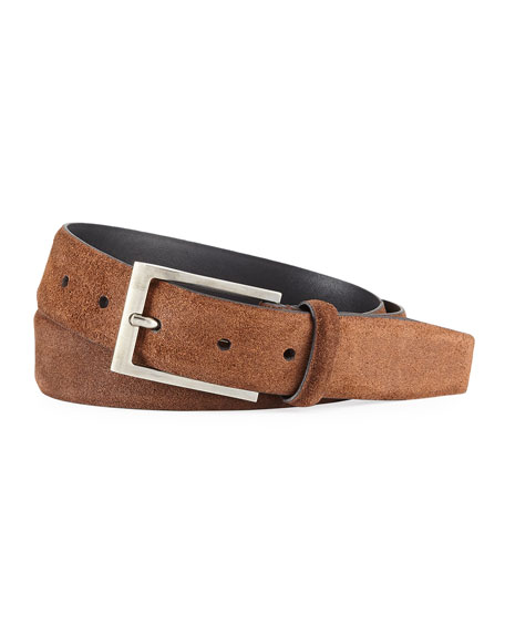 Ermenegildo Zegna Men's Textured Suede Belt w/ Matte