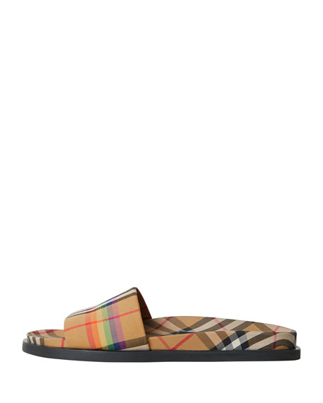 bf418cd3a70 Burberry Ashmore Low-Top Rainbow Check Slide Sandals