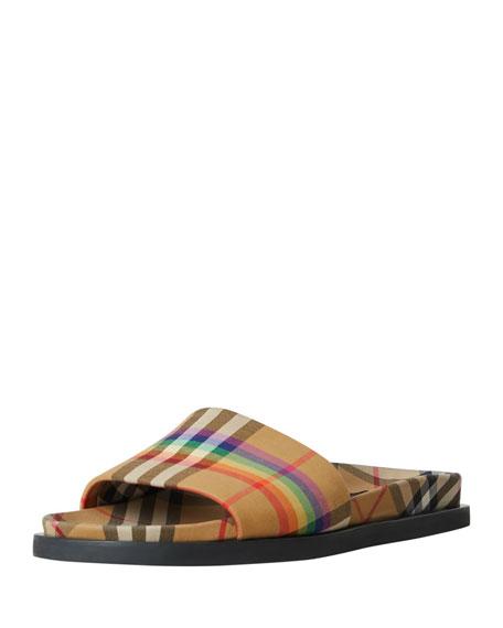 e3d5d6461 Burberry Ashmore Low-Top Rainbow Check Slide Sandals