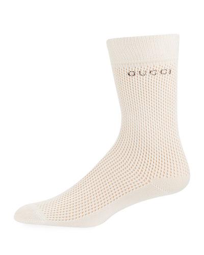Litnetty Cotton-Blend Logo Socks