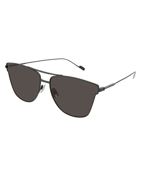 Saint Laurent SL 51 Geometric Metal Aviator Sunglasses