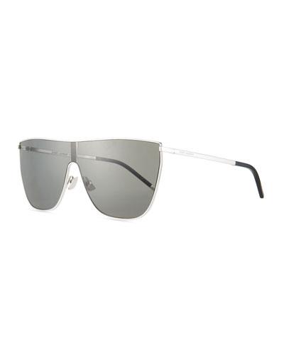 Men's Mask Bold Metal Flat-Top Shield Sunglasses