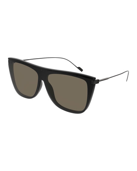 Saint Laurent Flat-Top Titanium Shield Sunglasses