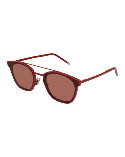 Men's Metal Flush-Lens Brow-Bar Sunglasses, Red