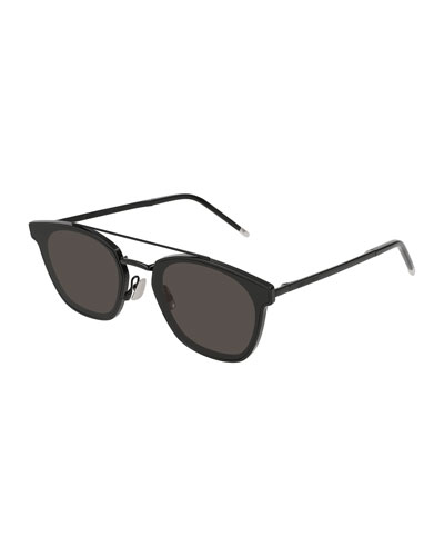 Men's Metal Flush-Lens Brow-Bar Sunglasses, Black Pattern