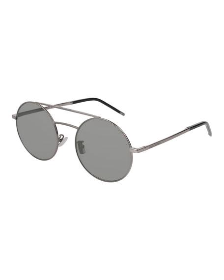 Saint Laurent Round Unisex Metal Aviator Sunglasses