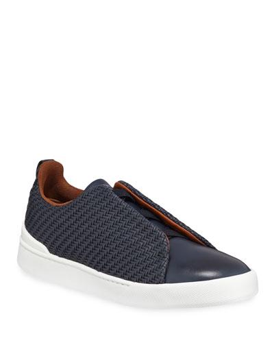 Men's Couture Triple-Stitch Pelle Tessuta Leather Low-Top Sneaker, Navy