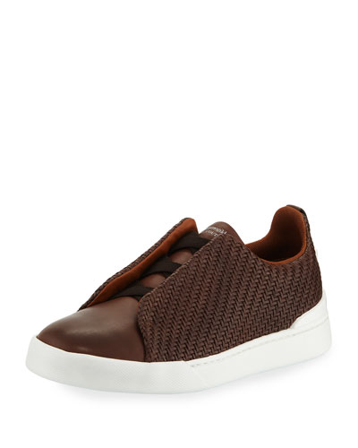 Men's Couture Triple-Stitch Pelle Tessuta Leather Low-Top Sneaker, Brown