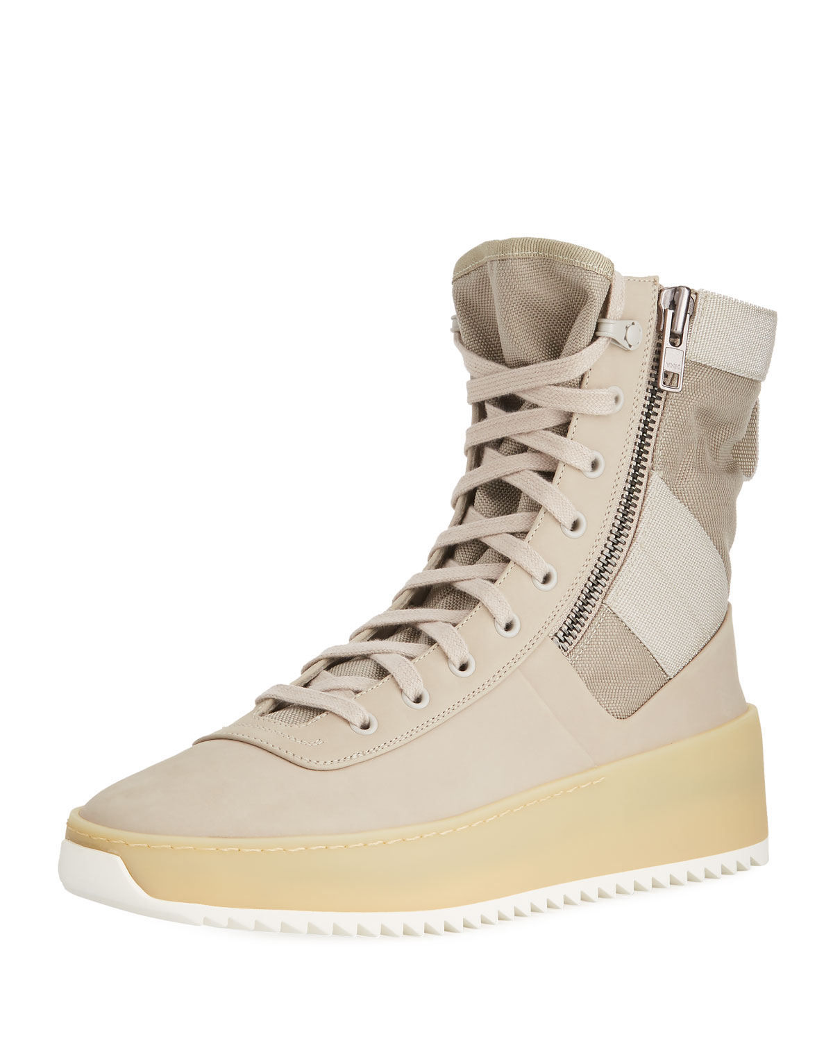 best cheap 4364c aa710 Men's Leather High-Top Military Sneakers, Beige
