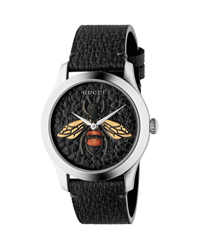 Bee Leather Watch, Black