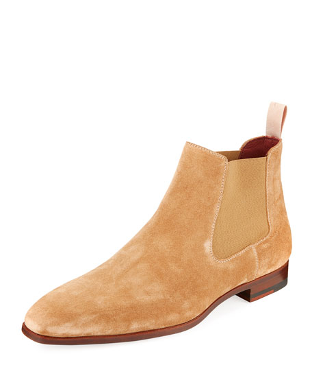 aa036b8e62e Men's Suede Low Gored Chelsea Boots Light Brown