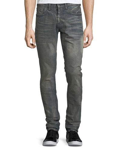Dusty Distressed Slim/Straight-Leg Jeans