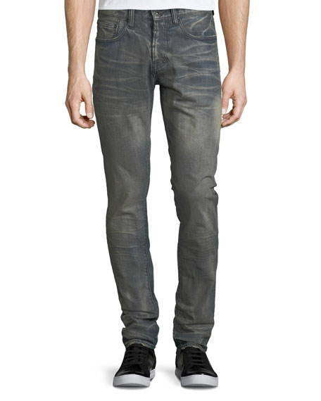 Dusty Distressed Slim/Straight-Leg Jeans