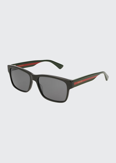 Square Acetate Sunglasses with Signature Web