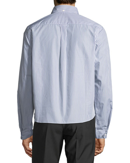 Eyes-Graphic Striped-Poplin Sport Shirt