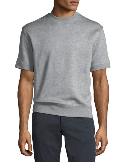 Cotton-Blend Short-Sleeve Felpa Top