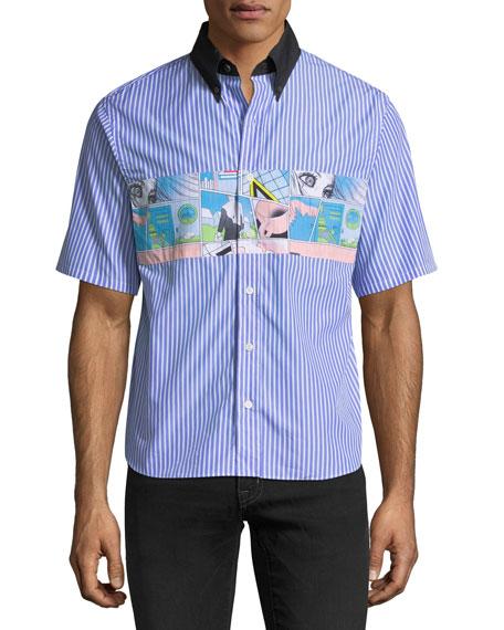 Patched-Detail Short-Sleeve Poplin Shirt