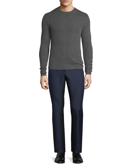 Contrast-Stripe Wool-Blend Pants