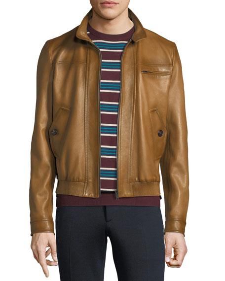 4484c1eef Napa Leather Zip-Front Bomber Jacket
