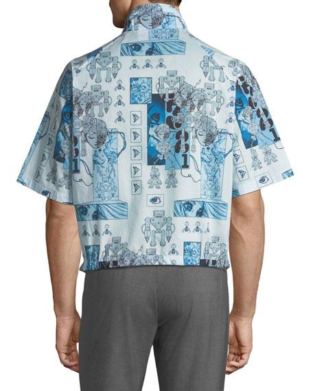 Robot-Print Zip-Front Over Shirt