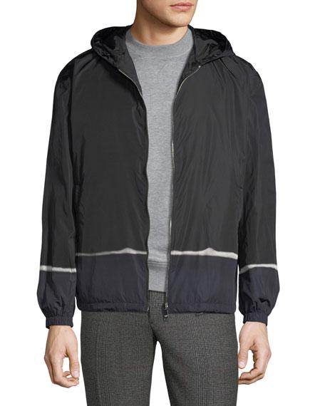 Striped-Trim Hooded Jacket