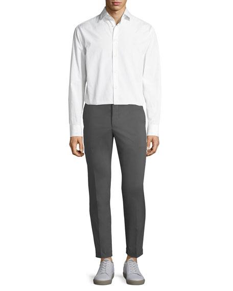 Cotton-Blend Straight-Leg Pants