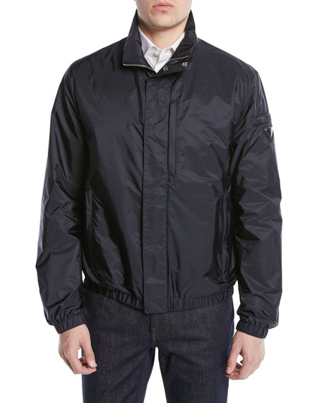 Stand Collar Zip-Front Nylon Jacket