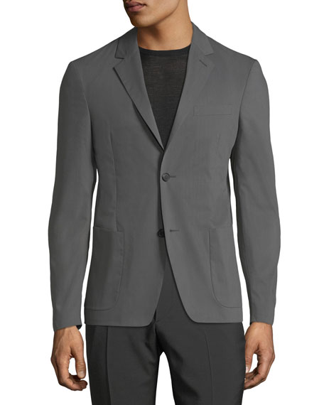 Cotton-Poplin Two-Button Blazer