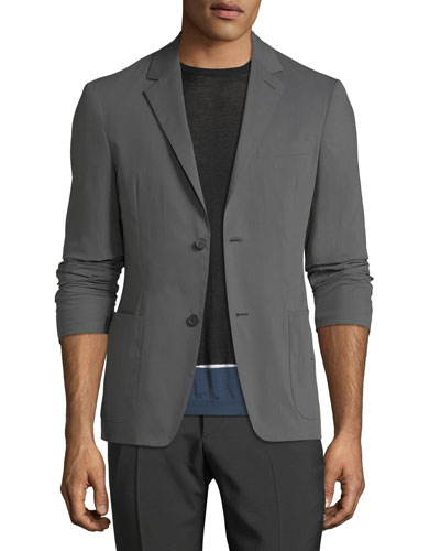 Cotton-Poplin Two-Button Blazer