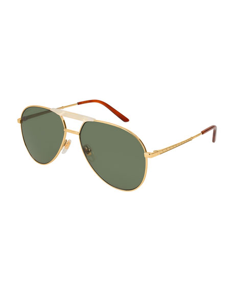 Gucci Men's Aviator Sunglasses, Gold