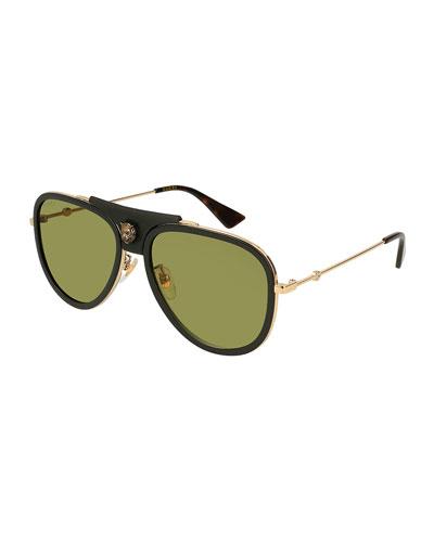 Enamel Web Metal Aviator Sunglasses