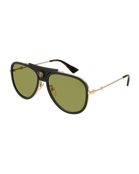 Gucci Enamel Web Metal Aviator Sunglasses