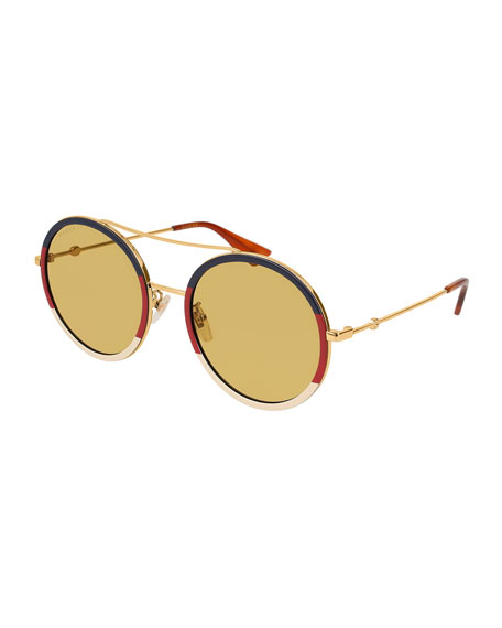 56ef1756708e9 Gucci Round Tricolor Metal Sunglasses