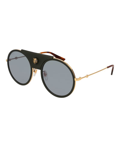Round Metal Sunglasses with Removable Black Leather Piece