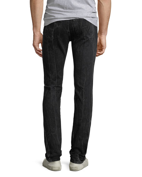 Men's Contrast-Topstitching Straight-Leg Trousers