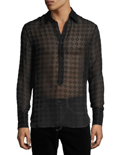 Geometric Semisheer Silk-Blend Shirt