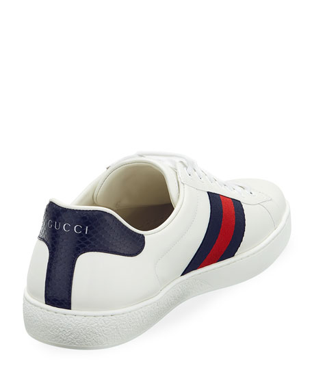 c64af1508 Gucci Men's New Ace Leather Low-Top Sneakers, White Pattern