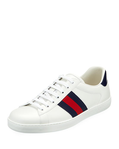 New Ace Leather Low-Top Sneaker, White Pattern