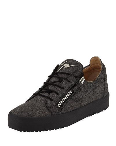 Men's Glitter Double-Zip Low-Top Sneakers